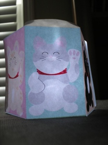 Lucky Cat Box lit up
