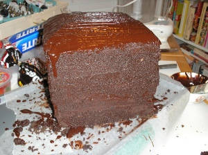 Spackled cake: spackle = chocolate + cake scraps