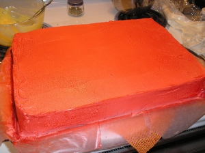 Cake painted red