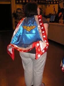 Amy models a cape