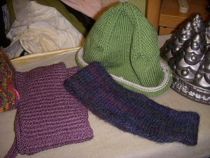 SIL's scarf, brother's earwarmer, nephew's hat
