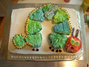 Very Hungry Caterpillar cake complete