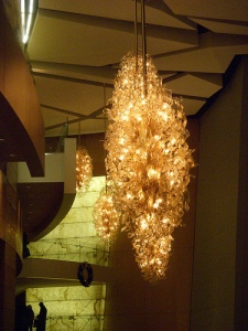 Chandaliers and light-up wall