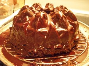 Chocolate pound cake w/ chocolate glaze